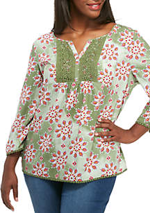 Plus Size 3/4 Sleeve Mixed Print Peasant Top