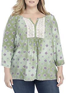 Plus Size 3/4 Sleeve Peasant Mix Print Blouse