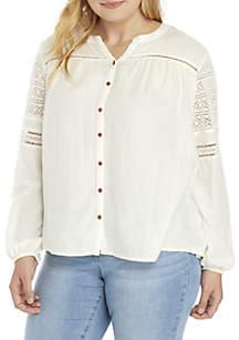 Plus Size Long Sleeve Crochet Top