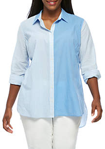 Plus Size Long Sleeve Button-Up Shirt