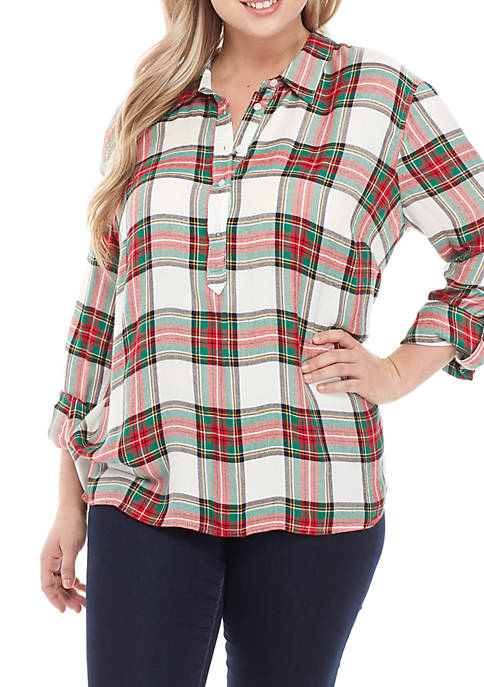 Crown & Ivy™ Plus Size Long Sleeve Plaid