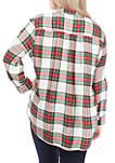 Plus Size Long Sleeve Plaid Shirt