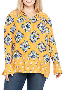 Plus Size Long Sleeve Twin Print Tunic