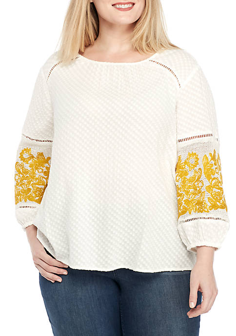 Crown & Ivy™ Plus Size Long Sleeve Solid