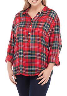 Plus Size Long Sleeve Button Plaid Top