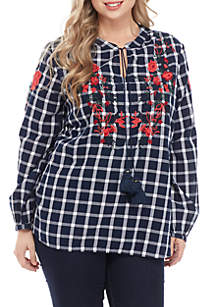 Plus Size Long Sleeve Embroidered Peasant Top