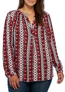 Plus Size Three-Quarter Sleeve Print Peasant Tunic