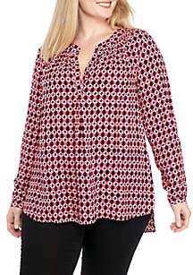 Plus Size 3/4 Sleeve Printed Tunic