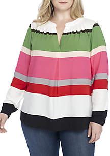 Plus Size 3/4 Sleeve Peasant Top