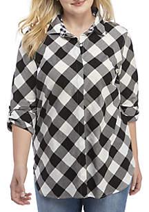Plus Size Long Sleeve Plaid Tunic