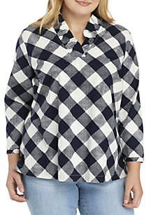 ... Crown   Ivy™ Plus Size 3 4 Sleeve Ruffle Neck Top 4f77ef37586c7