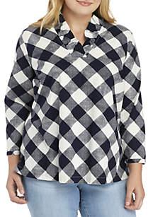 Plus Size 3/4 Sleeve Ruffle Neck Top