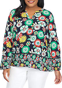 Crown & Ivy™ Plus Size Long Flare Sleeve Eyelet Trim Print Top