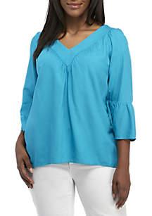 Plus Size V-Neck Bell Sleeve Blouse
