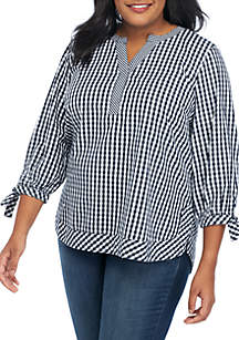Plus Size 3/4 Tie Sleeve Gingham Top