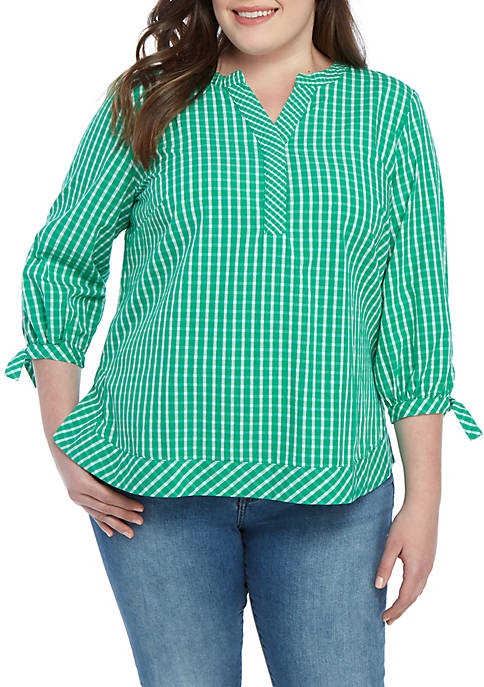 Plus Size Gingham Woven Blouse