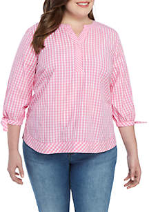Crown & Ivy™ Plus Size Gingham Woven Blouse