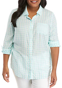 Crown & Ivy™ Plus Size Long Sleeve Gingham Print Top