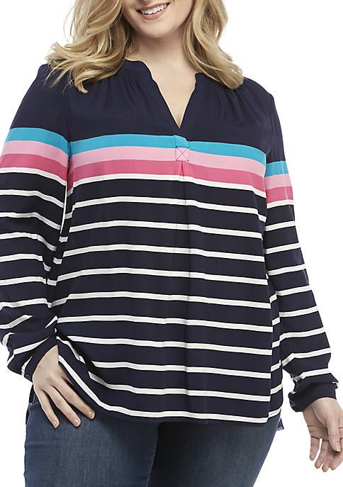 Plus Size 3/4 Sleeve Striped Tunic