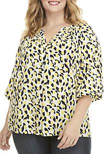 Crown & Ivy™ Plus Size 3/4 Sleeve Peasant Top