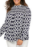 Plus Size Long Sleeve Smocked Yoke Print Blouse