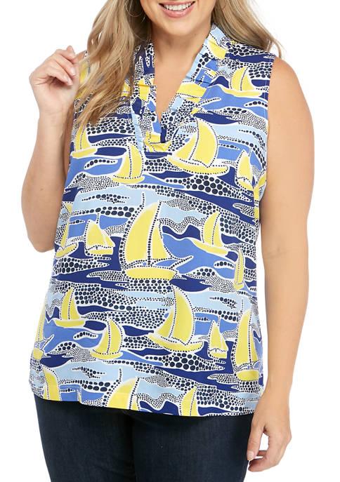Plus Size Sleeveless Ruffle V Neck Print Top