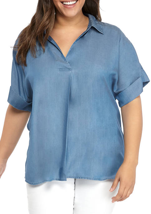 Crown & Ivy™ Plus Size Short Sleeve Dolman