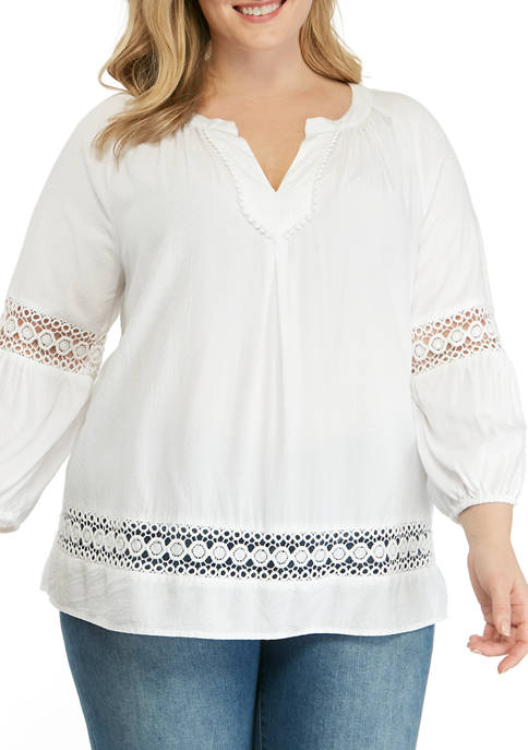 Crown & Ivy™ Plus Size 3/4 Sleeve Crochet