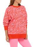 Womens 3/4 Blouson Sleeve Zebra Print Sweeper Pullover