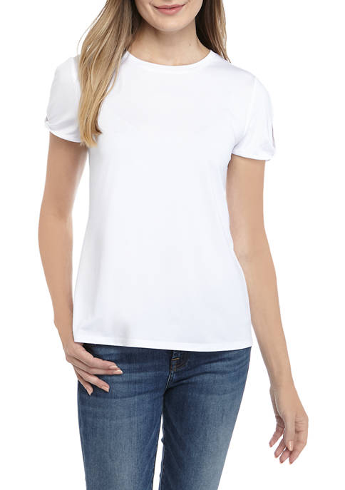 Crown & Ivy™ Womens Short Twist Sleeve T-Shirt