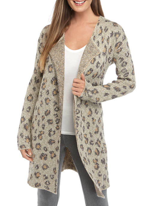 New Directions® Womens Animal Texture Cardigan