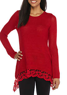 Lurex Lace Hem Sweater