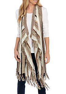 Mixed Print/Stitch Striped Vest