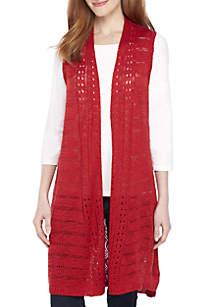 Sleeveless Mixed Pointelle Stitch Sweater Vest