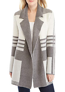 Long sleeve Notch Collar Cardigan with Plaid pattern