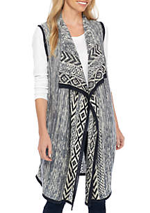 Cascading Sweater Vest with Printed Trim