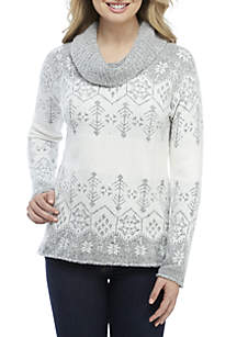 Mossy Cowl Neck Jacquard Sweater