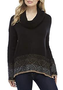 Long Sleeve Jacquard Cowl Neck Sweater