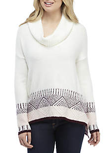 Long Sleeve Jacquard Cowl Neck Sweater