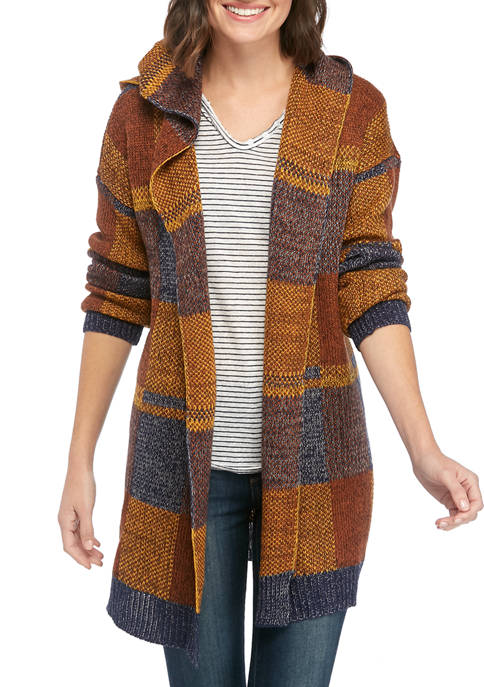 New Directions® Womens Jacquard Plaid Hooded Open Cardigan
