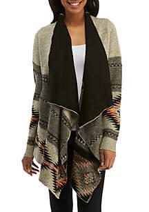 Long Sleeve Drape Front Tribal Printed Cardigan