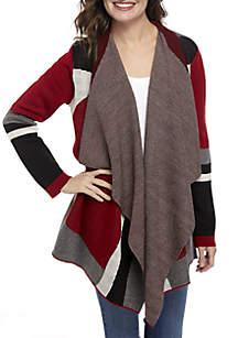 Long Sleeve Colorblock Mixed Pattern Cardigan