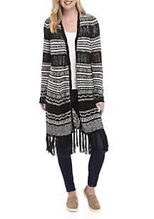Long Sleeve Fringe Hem Stripe Cardigan