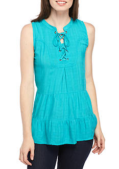 New Directions® Weekend Sleeveless Lace Up Tiered Top