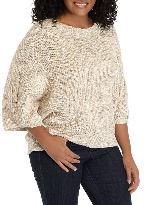 New Directions® Plus Size Dolman Sleeve Crop Sweater