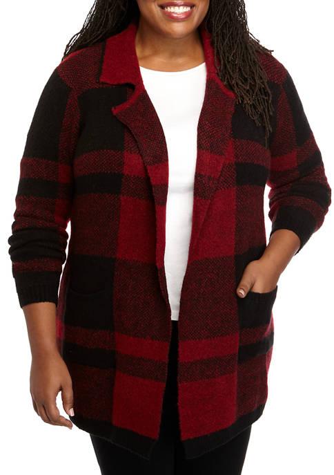 New Directions® Plus Size Buffalo Check Cardigan
