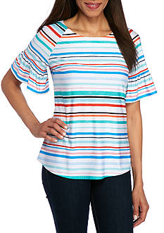 New Directions® Multi Stripe Print Knit Top