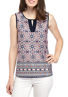 New Directions® Sleeveless Border Print Cutout Neck Tank
