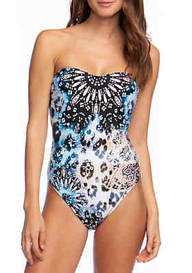 4acd927318 Kenneth Cole Across the Atlantic Bandeau One Piece Swimsuit ...