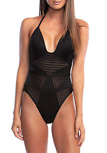 Kenneth Cole Across the Atlantic Bandeau One Piece Swimsuit